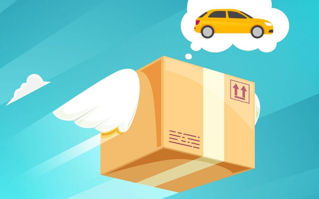 Pacco del corriere espresso e nuvoletta con auto a noleggio lungo termine pronta consegna